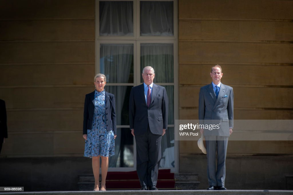 Sophie, Countess of Wessex, Prince Andrew, Duke of York and Prince Edward, Earl of Wessex arrive at a ceremony for Gold Award recipients of the Duke of Edinburgh's Award in the gardens at Buckingham Palace on May 17, 2018 in London, England.