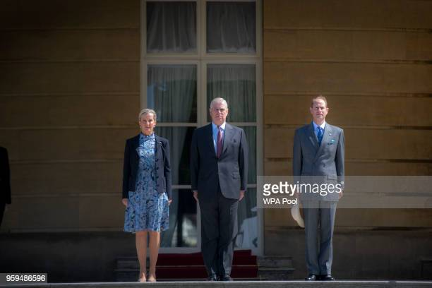 Sophie Countess of Wessex Prince Andrew Duke of York and Prince Edward Earl of Wessex arrive at a ceremony for Gold Award recipients of the Duke of...