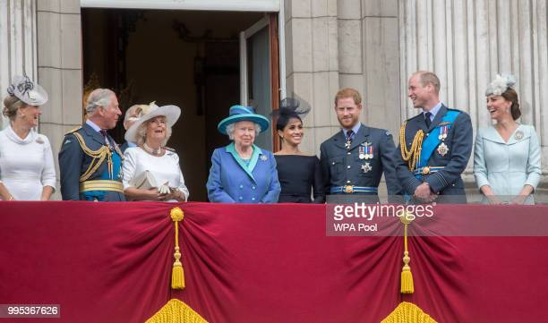 Sophie Countess of Wessex Prince Charles Prince of Wales Camilla Duchess of Cornwall Queen Elizabeth II Meghan Duchess of Sussex Prince Harry Duke of...