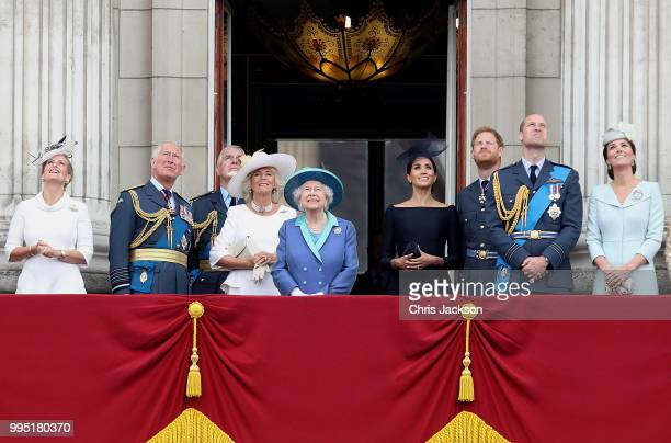Sophie Countess of Wessex Prince Charles Prince of Wales Prince Andrew Duke of York Camilla Duchess of Cornwall Queen Elizabeth II Meghan Duchess of...