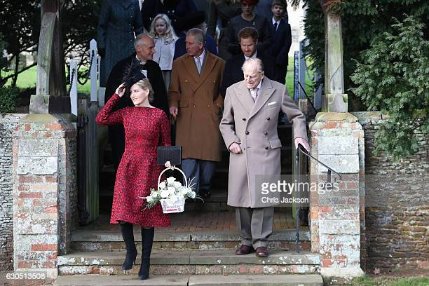 Sophie Countess of Wessex Prince Charles Prince of Wales Prince Harry and Prince Philip Duke of Edinburgh attend a Christmas Day church service at...