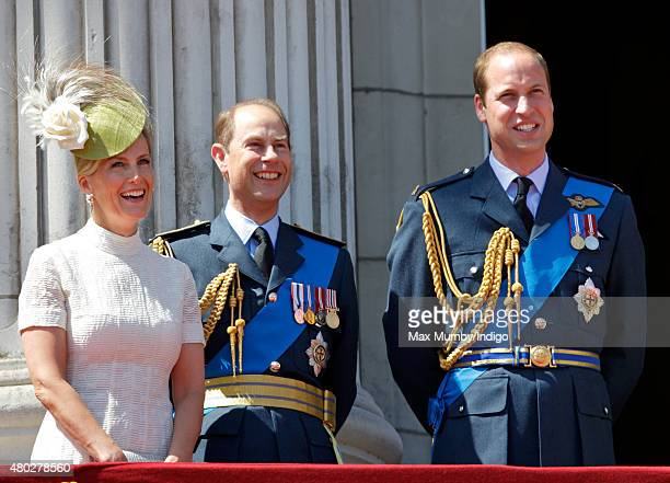 Sophie, Countess of Wessex, Prince Edward, Earl of Wessex and Prince William, Duke of Cambridge watch a flypast of Spitfire & Hurricane aircraft from...