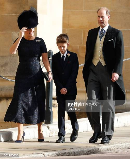Sophie Countess of Wessex Prince Edward Earl of Wessex and their son James Viscount Severn arrive ahead of the wedding of Princess Eugenie of York...