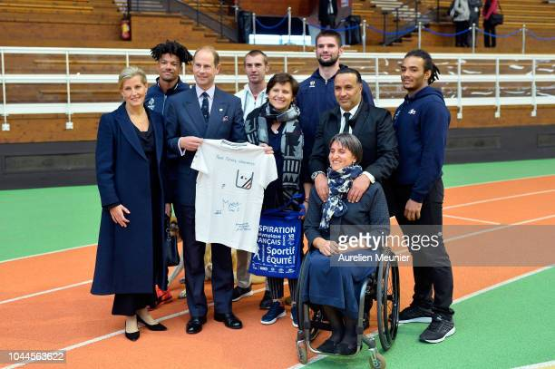 Sophie Countess Of Wessex Prince Edward Earl Of Wessex French Sports Minister Roxana Maracineanu and INSEP Director Ghani Yallouz pose with members...