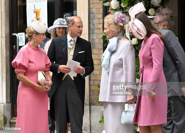 Sophie, Countess of Wessex, Prince Edward, Earl of Wessex, Princess Michael of Kent and Sophie Winkleman attend Flora Alexandra Ogilvy and Timothy...
