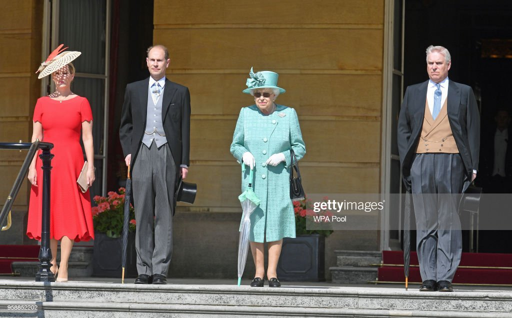 Sophie, Countess of Wessex, Prince Edward, Earl of Wessex, Queen Elizabeth II and Prince Andrew, Duke of York arrive for a garden party at Buckingham Palace on May 15, 2018 in London, England.