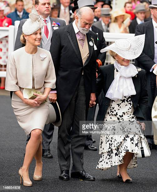 Sophie Countess of Wessex Prince Michael of Kent and Princess Michael of Kent curtsey and bow to Queen Elizabeth II as they attend Ladies Day during...