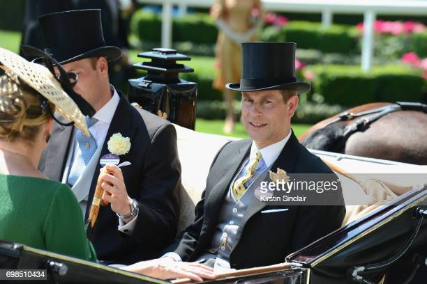 Sophie Countess of Wessex Prince William Duke of Cambridge and Prince Edward Earl of Wessex on day 1 of Royal Ascot at Ascot Racecourse on June 20...