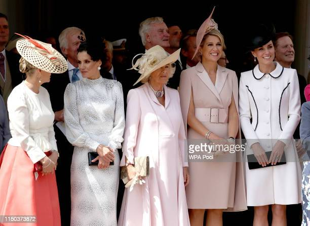 Sophie Countess of Wessex Queen Letizia of Spain Camilla Duchess of Cornwall Queen Maxima of the Netherlands and Catherine Duchess of Cambridge at...