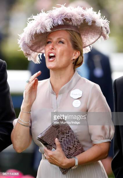 Sophie Countess of Wessex reacts as she watches Frankie Dettori ride 'Stradivarius' to victory in The Gold Cup on day 3 'Ladies Day' of Royal Ascot...