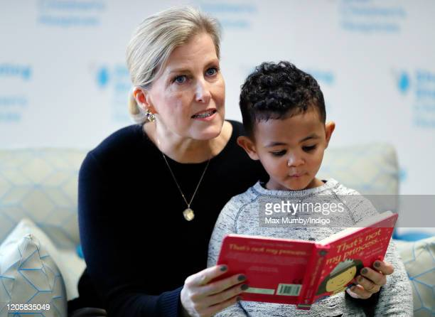 Sophie Countess of Wessex reads 'That's Not My Princess' to children as she visits Shooting Star House one of two hospices run by Shooting Star...