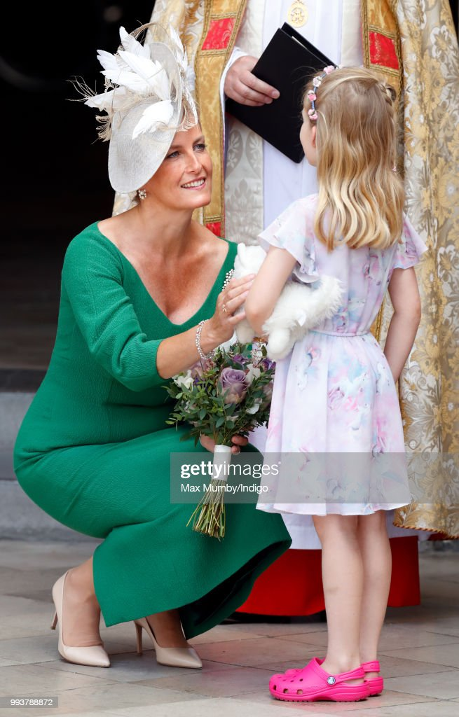Sophie, Countess of Wessex receives a posy from Lola Gregory (age 6) as she attends a service to celebrate the 70th Anniversary of the NHS at Westminster Abbey on July 5, 2018 in London, England. The National Health Service was founded in July 1948 by Aneurin 'Nye' Bevan to provide free at the point of delivery healthcare for residents of the United Kingdom.
