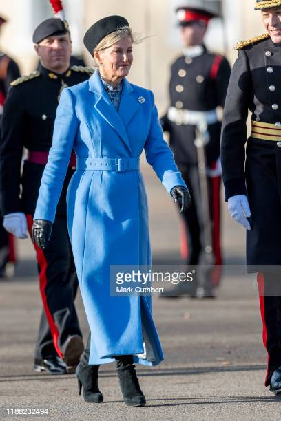 Sophie Countess of Wessex represents Her Majesty The Queen as the Reviewing Officer at The Sovereign's Parade at Royal Military Academy Sandhurst on...