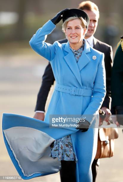 Sophie, Countess of Wessex represents Her Majesty The Queen as the Reviewing Officer during The Sovereign's Parade at the Royal Military Academy...