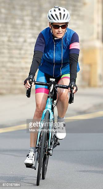 Sophie Countess of Wessex rides through Oundle on the penultimate day of her Diamond Challenge cycle ride on September 24 2016 near Peterborough...