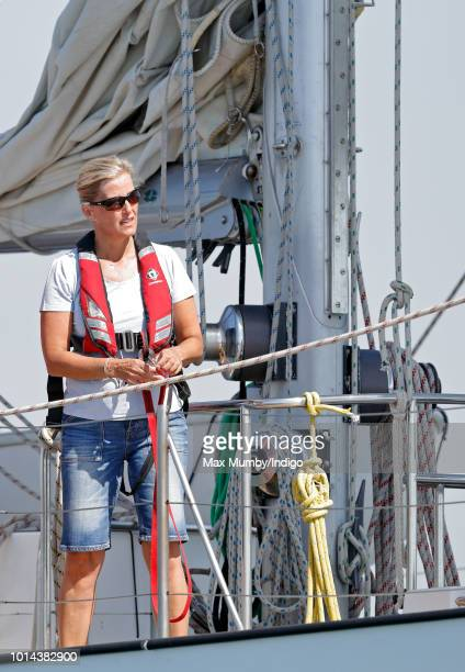 Lady Louise Windsor sailing in the Solent aboard 'Donald Searle' an Ocean 75ft Ketch Yacht during an Association of Sail Training Organisations...