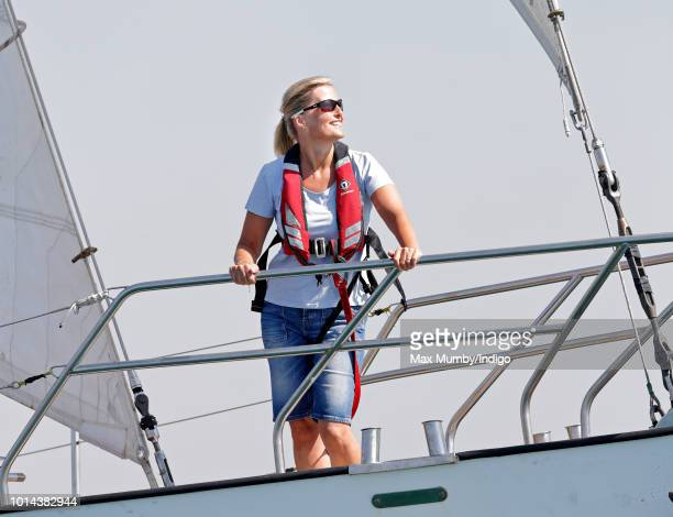Sophie Countess of Wessex sailing in the Solent aboard 'Donald Searle' an Ocean 75ft Ketch Yacht during an Association of Sail Training Organisations...