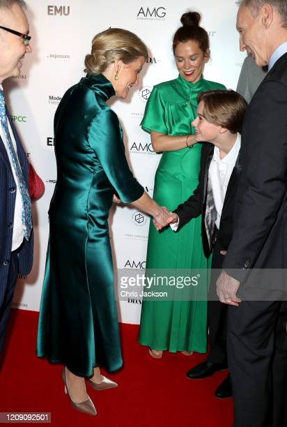 """Sophie, Countess of Wessex shakes hands with Hugo Stone as she attends the """"Sulphur and White"""" premiere at The Curzon Mayfair on February 27, 2020 in..."""
