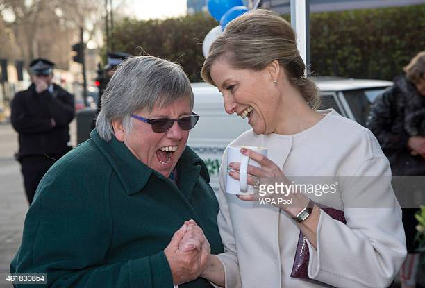 Sophie Countess of Wessex shares a joke during a visit to the Tomorrow's People Social Enterprises on her 50th birthday at St Anselm's Church on...