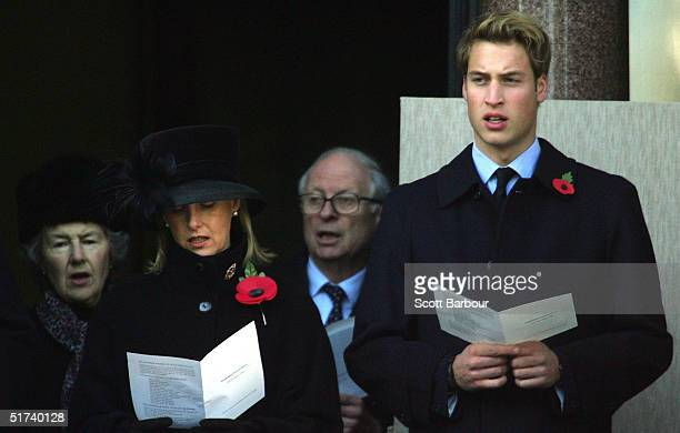 Sophie Countess of Wessex sings with Prince William at the annual Remembrance Day service on November 14 2004 in London England After a brief service...