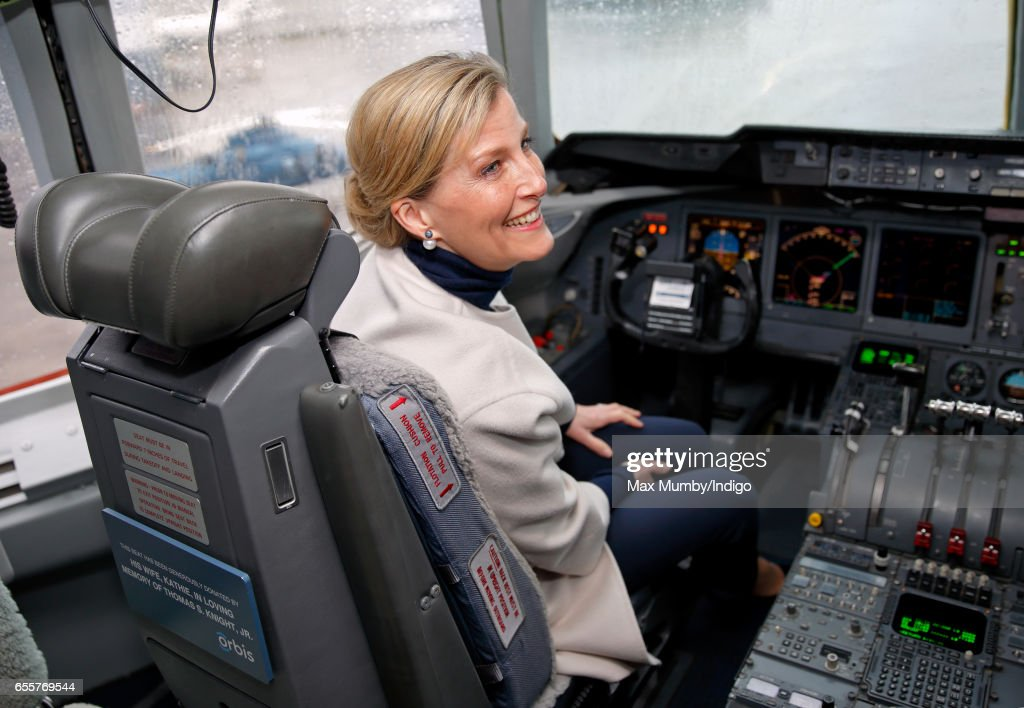 Sophie, Countess of Wessex sits in the cockpit of the Orbis Flying Eye Hospital at Stansted Airport on March 20, 2017 in London, England. Eye charity Orbis's new Flying Eye Hospital (a converted MD-10 cargo freighter) is equipped with an onboard operating theatre to perform eye surgery to treat avoidable blindness in Africa, Asia and Latin America.