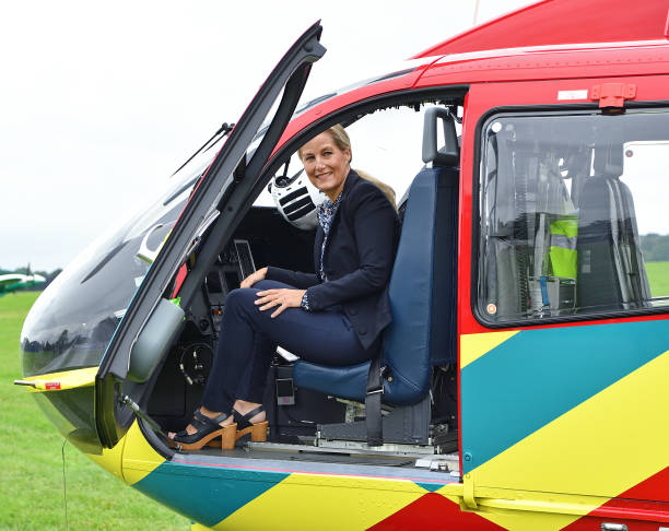 GBR: The Countess Of Wessex Visits Thames Valley Air Ambulance