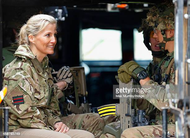 Sophie Countess of Wessex sits inside a Mastiff Protected Patrol Vehicle during a visit to 5th Battalion The Rifles as they undertake Exercise...
