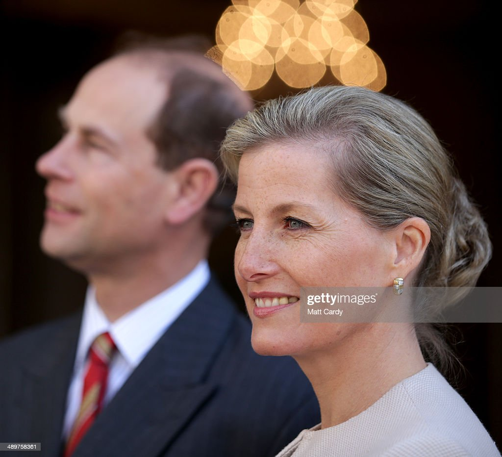 Sophie, Countess of Wessex smiles as she enters the Roman Baths accompanied by Prince Edward, Earl of Wessex during an official visit to Bath Abbey on May 12, 2014 in Bath, England.