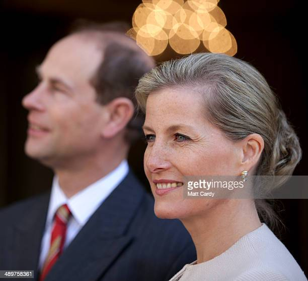 Sophie Countess of Wessex smiles as she enters the Roman Baths accompanied by Prince Edward Earl of Wessex during an official visit to Bath Abbey on...