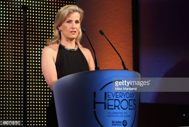 Sophie Countess of Wessex speaks on stage at the starstudded St John Ambulance Everyday Heroes celebration of the nation's life savers at the Royal...
