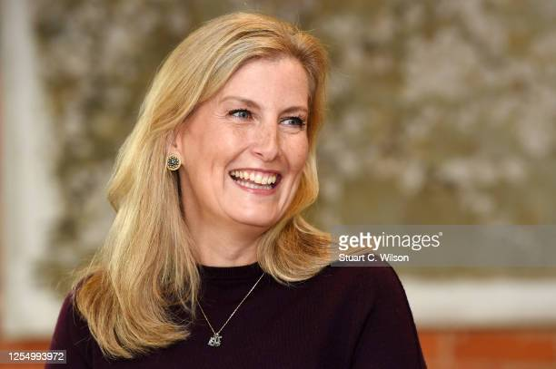 Sophie Countess Of Wessex speaks to guests during her visit at 'The Half Moon' public house on July 08 2020 in Windlesham England The Countess of...