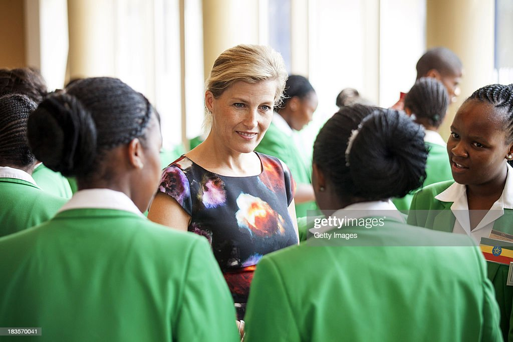 Sophie Countess of Wessex speaks to students at the Oprah Winfrey Leadership Academy for Girls on October 7, 2013 in Meyerton, South Africa. The Earl and Countess of Wessex are on a week-long visit to South Africa in support of Prince Edwards work with The Duke of Edinburgh's International Award Foundation and South African President's Award for Youth Empowerment Trust.
