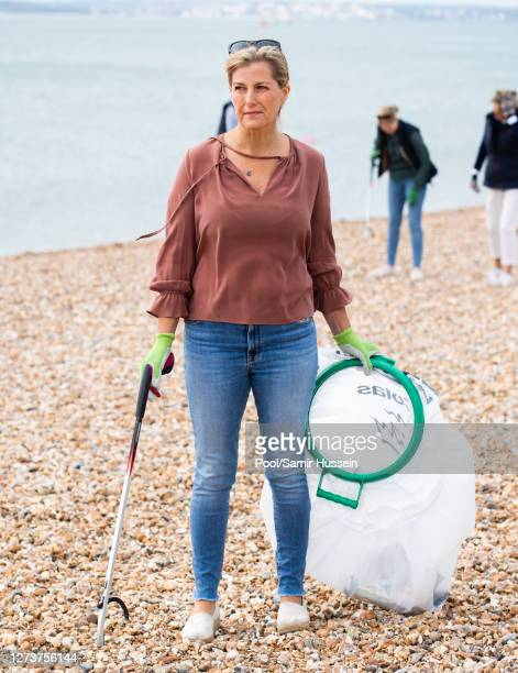 Sophie Countess of Wessex takes part in the Great British Beach Clean on Southsea beach on September 20 2020 in Portsmouth England