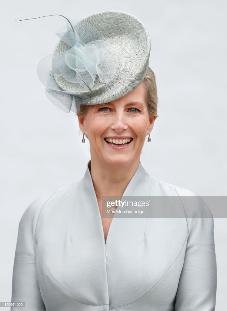 Sophie, Countess of Wessex takes the salute as she attends the Headley Court Farewell Parade on September 29, 2017 in Dorking, England. A service of thanksgiving at St Martin's Church and a farewell parade mark the beginning of a year of events prior to the Defence Medical Rehabilitation Centre (DMRC), currently based at Headley Court, relocating to a new purpose built facility on the Stanford Hall estate near Loughborough.