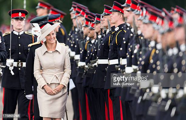 Sophie Countess of Wessex takes the salute at The Sovereigns Parade at The Royal Military Academy on August 9 2013 in Sandhurst England