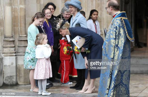 Sophie Countess of Wessex talks to children as she departs from the 2018 Commonwealth Day service at Westminster Abbey on March 12 2018 in London...