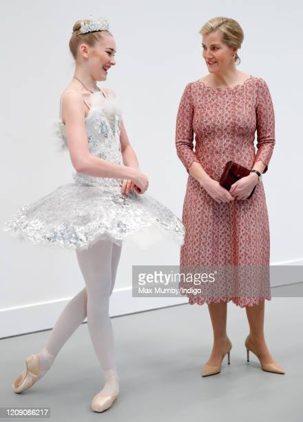 Sophie, Countess of Wessex talks with a ballet student as she opens The Countess of Wessex Studios at the Central School of Ballet's new premises on...