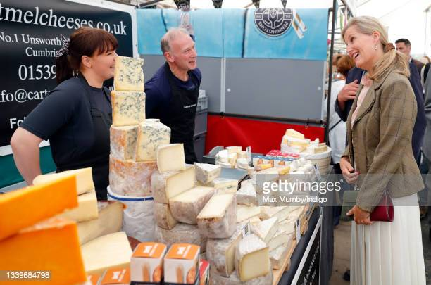 Sophie, Countess of Wessex talks with cheese stall owners she visits the Westmorland County Show on September 9, 2021 in Milnthorpe, England.