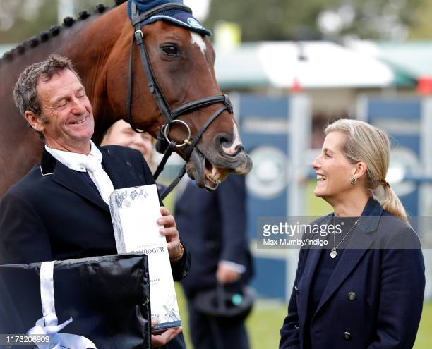 Sophie Countess of Wessex talks with Sir Mark Todd during a presentation to mark his official retirement from competitive eventing at The Land Rover...