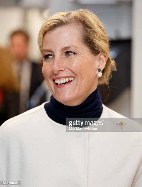 Sophie Countess of Wessex tours the Orbis Flying Eye Hospital at Stansted Airport on March 20 2017 in London England Eye charity Orbis's new Flying...