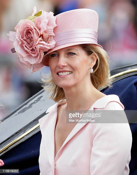 Sophie Countess of Wessex travels down The Mall in a horse drawn carriage as she attends the Trooping the Colour parade on June 11 2011 in London...