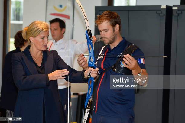 Sophie Countess Of Wessex tries archery as she visits INSEP on October 2 2018 in Paris France Prince Edward Earl Of Wessex and Sophie Countess Of...