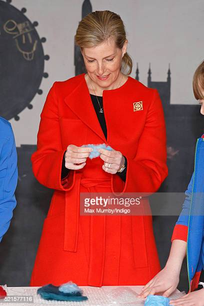 Sophie Countess of Wessex tries felt making as she opens the newly refurbished Girlguiding head office on April 16 2016 in London England
