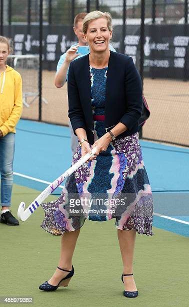 Sophie Countess of Wessex tries her hand at hockey as she attends the Unibet EuroHockey Championships at the Lee Valley Hockey and Tennis Centre on...