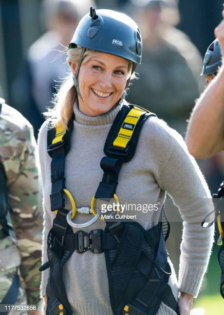 Sophie, Countess of Wessex tries out the High Wire Assault Course during The Countess of Wessex Cup 2019 at St John Moore Barracks on October 22,...