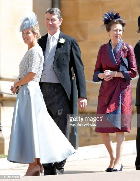 Sophie Countess of Wessex Vice Admiral Sir Tim Laurence and Princess Anne Princess Royal attend the wedding of Prince Harry to Ms Meghan Markle at St...