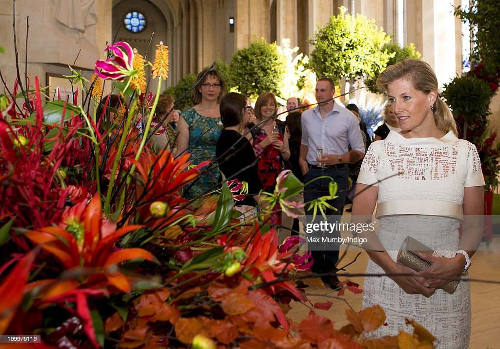 Sophie, Countess of Wessex views a floral display as she attends a reception for the Guildford Flower Festival at Guildford Cathedral during a day of engagements in Surrey on January 05, 2013 in Guildford, England.