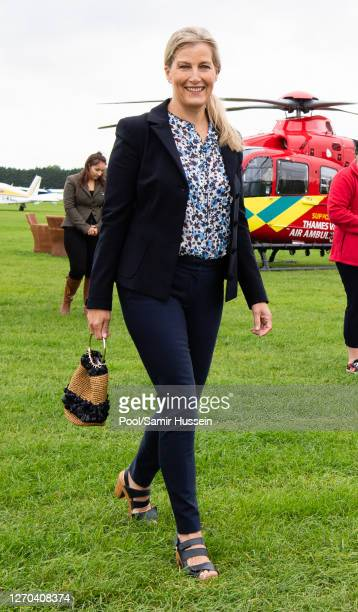 Sophie, Countess of Wessex visits Thames Valley Air Ambulance at White Waltham Airfield on September 03, 2020 in Maidenhead, England. HRH's visit is...
