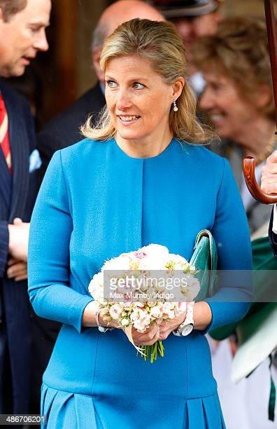 Sophie Countess of Wessex visits the Abbey Church of St Peter and St Paul as she and Prince Edward Earl of Wessex undertake a day of engagements in...