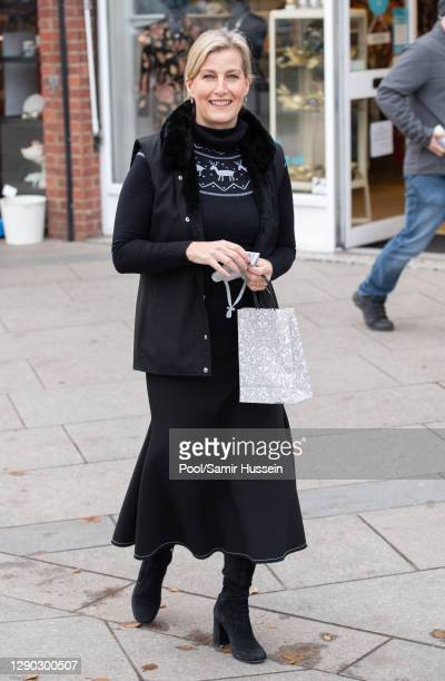 Sophie, Countess of Wessex visits the Shooting Star Children's Hospices charity shop to help it prepare for Christmas on December 9, 2020 in Hampton,...